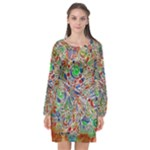 Pop Art - Spirals World 1 Long Sleeve Chiffon Shift Dress