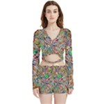 Pop Art - Spirals World 1 Velvet Wrap Crop Top and Shorts Set