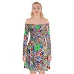 Pop Art - Spirals World 1 Off Shoulder Skater Dress