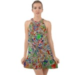 Pop Art - Spirals World 1 Halter Tie Back Chiffon Dress