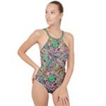 Pop Art - Spirals World 1 High Neck One Piece Swimsuit