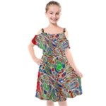 Pop Art - Spirals World 1 Kids  Cut Out Shoulders Chiffon Dress