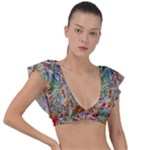 Pop Art - Spirals World 1 Plunge Frill Sleeve Bikini Top