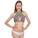Pop Art - Spirals World 1 Cross Front Halter Bikini Top