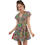 Pop Art - Spirals World 1 Flutter Sleeve Wrap Dress