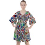 Pop Art - Spirals World 1 Boho Button Up Dress