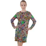 Pop Art - Spirals World 1 Long Sleeve Hoodie Dress