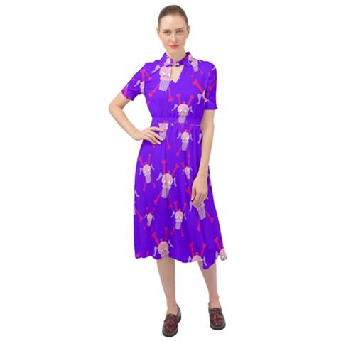 Keyhole Neckline Chiffon Dress