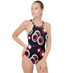 Vintage Circles High Neck One Piece Swimsuit