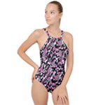 Pink Camo High Neck One Piece Swimsuit