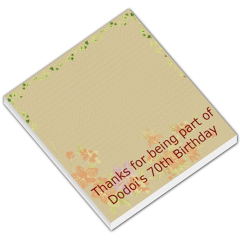Dodoi s 70th Birthday By Savita   Small Memo Pads   Ib5giates95e   Www Artscow Com
