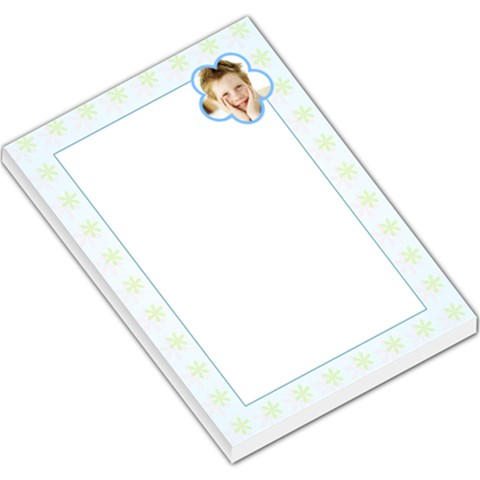 Green Flowers Blue Border By Gary Bush   Large Memo Pads   Ayhsj2x5tbe9   Www Artscow Com