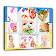 1st birthday 20x24 canvas template unisex2 - Canvas 24  x 20  (Stretched)