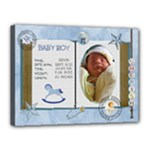 Newborn Baby Boy 16x12 Stretched Canvas - Canvas 16  x 12  (Stretched)