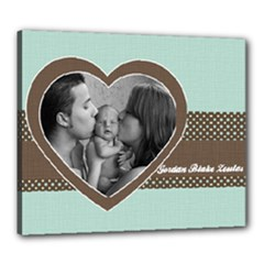 Baby Blue & Brown Heart Canvas 20x24 - Canvas 24  x 20  (Stretched)