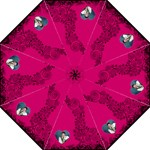 Fantasia Fushcia Pink & black  heart umbrella - Folding Umbrella