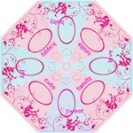 Amelia Cerise Swirls and love words Umbrella - Folding Umbrella