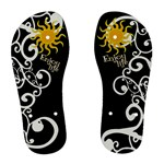 black & white swirls flip flops - Women s Flip Flops