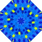Blue and Yellow Torn Scraps by Celeste Sheffey - Folding Umbrella