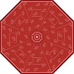 Red hearts - Folding Umbrella