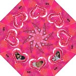 Hearts pink folding umbrella