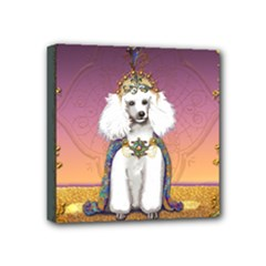 White Poodle Prince Mini Canvas 4  x 4  (Stretched)