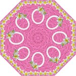 Pink butterfly and frangipani folding umbrella