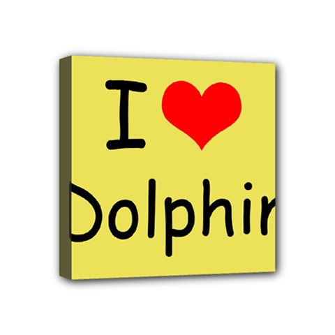 I Love Dolphin 4  X 4  Framed Canvas Print by CowCowDemo
