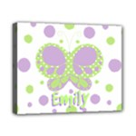 Butterfly Dots Purple Green Canvas Name Print - Canvas 10  x 8  (Stretched)