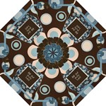 Polka Dot Brown Blue Floral Warm Fuzzy Umbrella - Folding Umbrella