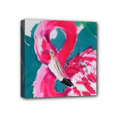 Flamingo Print Mini Canvas 4  x 4  (Stretched)