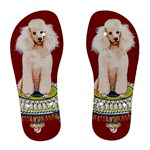 White Poodle on Tuffet  Women s Flip Flops