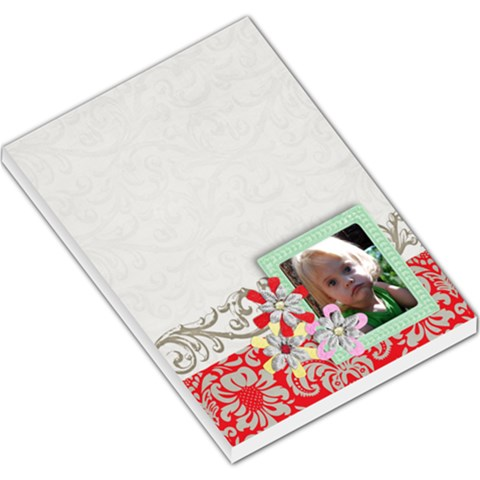 Teal & Red  Large Note Pad By Mikki   Large Memo Pads   Jx27afv46tjc   Www Artscow Com