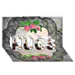 Black Lace Hugs 3D card - HUGS 3D Greeting Card (8x4)