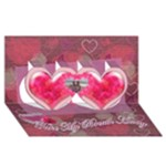 You take My Breath Away  twin heart  3d card - Twin Hearts 3D Greeting Card (8x4)