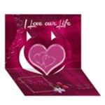 Memories Heart hot pink 3D Card template - Heart 3D Greeting Card (7x5)