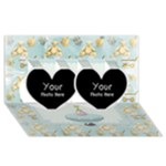 2 hEARTS - Twin Hearts 3D Greeting Card (8x4)