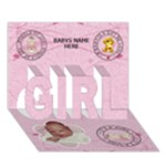 Baby Girl 3D Card - GIRL 3D Greeting Card (7x5)