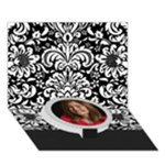 Black & White Damask -any theme, 3D circle bottom card - Circle Bottom 3D Greeting Card (7x5)