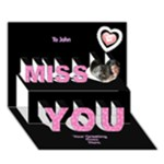 Miss you in Pink 3d Card - Miss You 3D Greeting Card (7x5)
