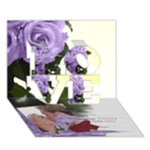 Mauve Roses of Love 3d Card - LOVE 3D Greeting Card (7x5)