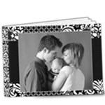 9x7 Deluxe Photo Book-black & white damask/any theme - 9x7 Deluxe Photo Book (20 pages)