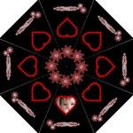 Red Black Love folding umbrella