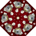 Red Satin and White Rose Umbrella - Folding Umbrella