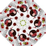 white Satin and Roses Umbrella - Folding Umbrella