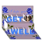 Blue Rose Get Well Card - Get Well 3D Greeting Card (7x5)