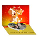 puppy and kitten heart card - Heart Bottom 3D Greeting Card (7x5)