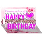 Pink Princess Birthday Card - Happy Birthday 3D Greeting Card (8x4)