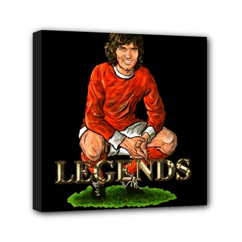 George Best Mini Canvas 6  x 6  (Stretched) by OurInspiration