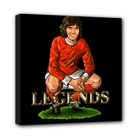George Best Mini Canvas 8  x 8  (Stretched) by OurInspiration